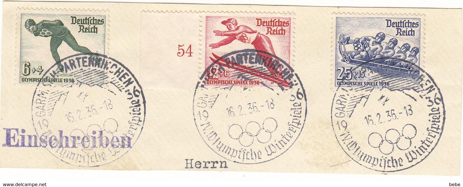 REICH JEUX OLYMPIQUES 1936  3 TIMBRES 559 + 560 + 561+ SUR 1 FRAGMENT - Allemagne