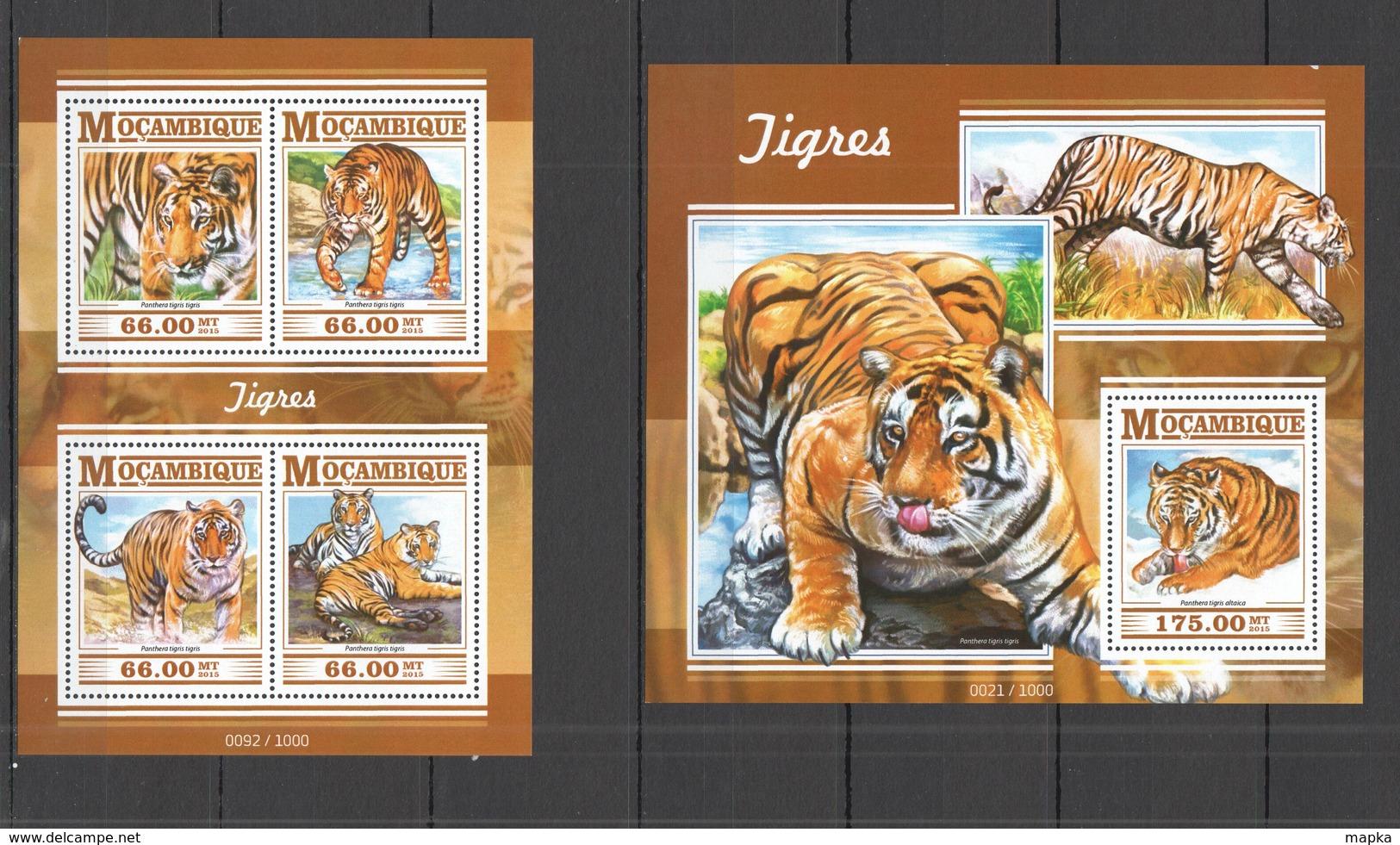 ST2252 2015 MOZAMBIQUE MOCAMBIQUE FAUNA ANIMALS WILD CATS TIGERS TIGRES KB+BL MNH - Big Cats (cats Of Prey)