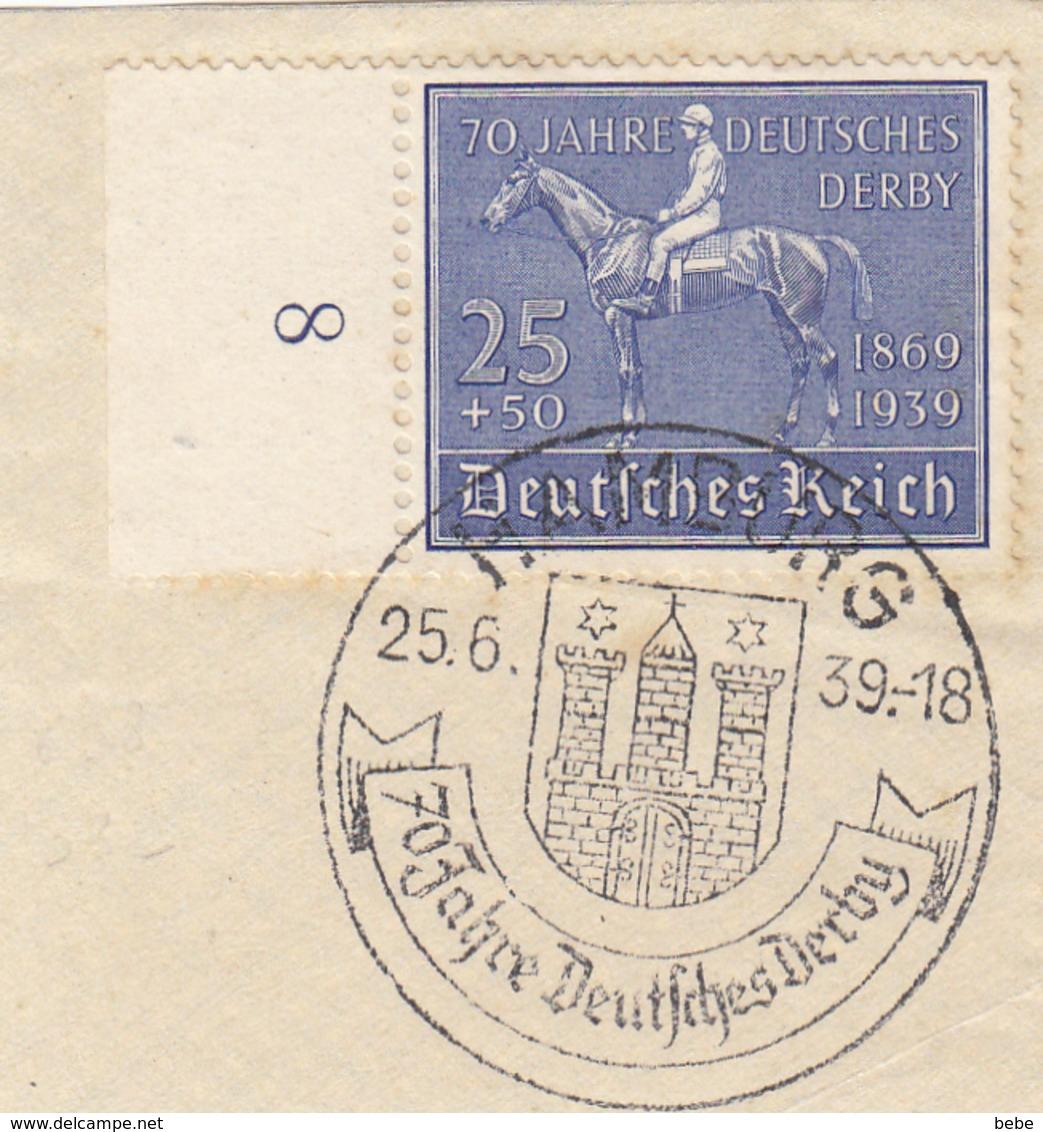 REICH  TIMBRE BORD DE FEUILLE 637 SUR 1 FRAGMENT - Allemagne