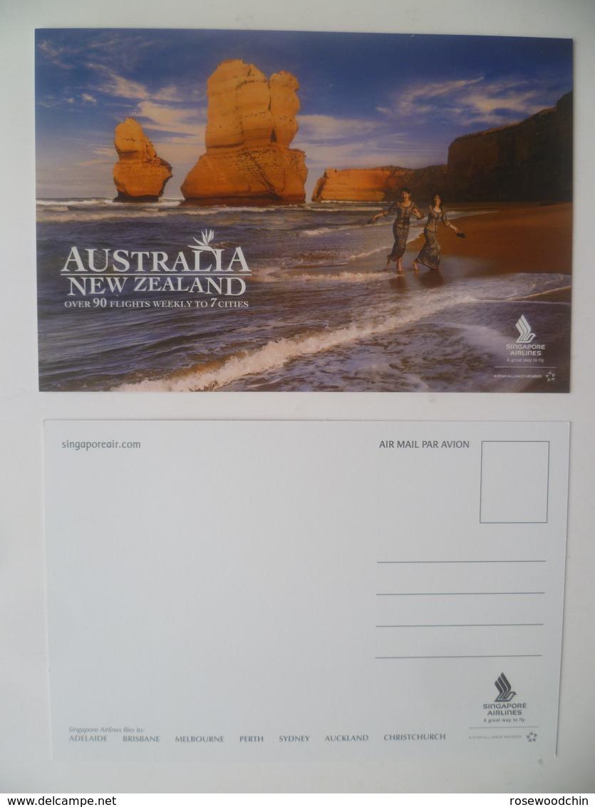 Vintage ! SINGAPORE AIRLINES Colour Postcard - Australia New Zealand (#16-2) - Stationery