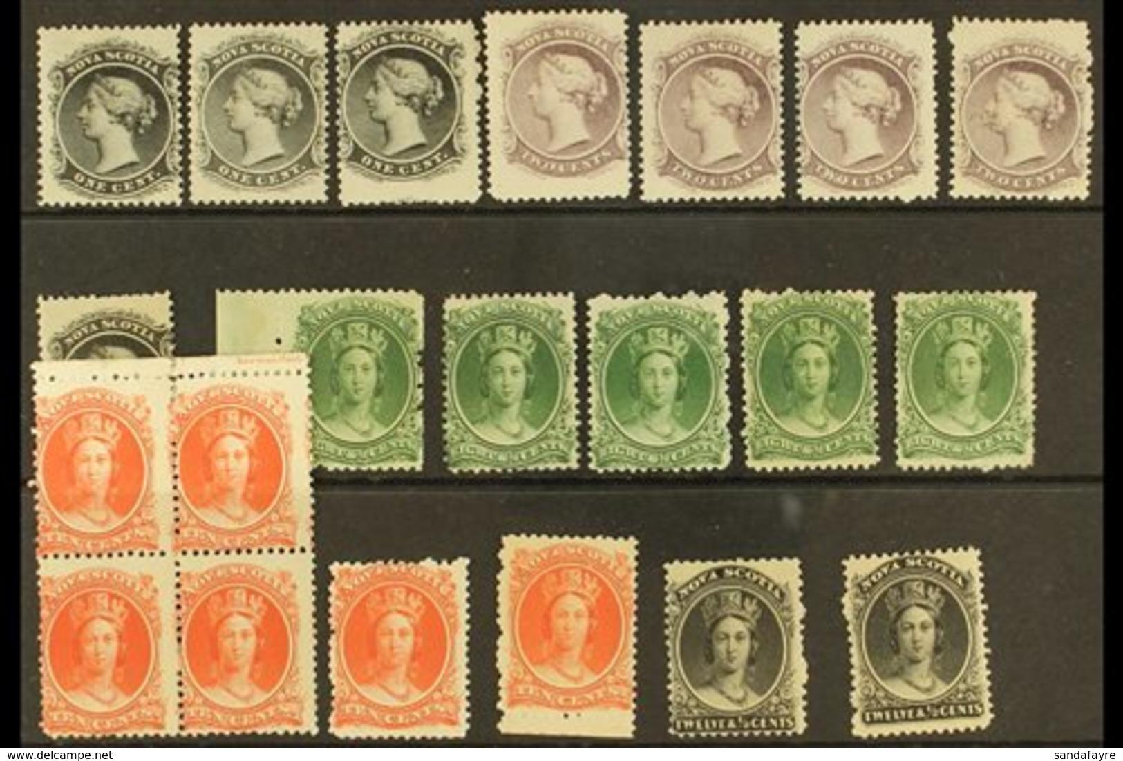 NOVA SCOTIA  1860 - 1863 Mint Selection With 1c (4), 2c Shades (4), 8½c Green Shades (5), 10c (6 Incl Block Of 4) And 12 - Nova Scotia