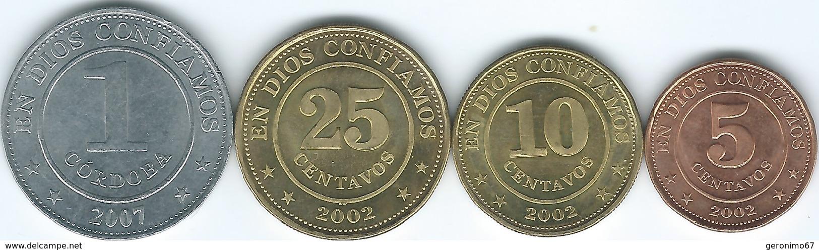 Nicaragua - 2002 - 5, 10 & 25 Centavos (KMs 97-99) & 2007 - 1 Córdoba (KM101) - Nicaragua