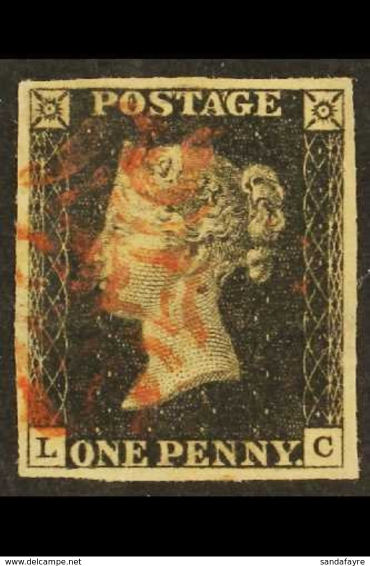 1840  1d Black 'LC' Plate 6, SG 2, Used With 4 Large Margins & Red MC Cancellation. For More Images, Please Visit Http:/ - 1840-1901 (Victoria)