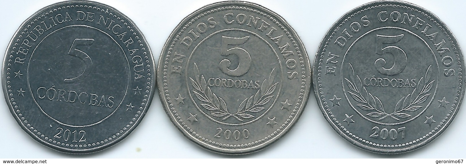 Nicaragua - 5 Córdoba - 2000 (KM90) 2007 (KM90.1) 2012 - Centennial Of Córdoba (KM111) - Nicaragua