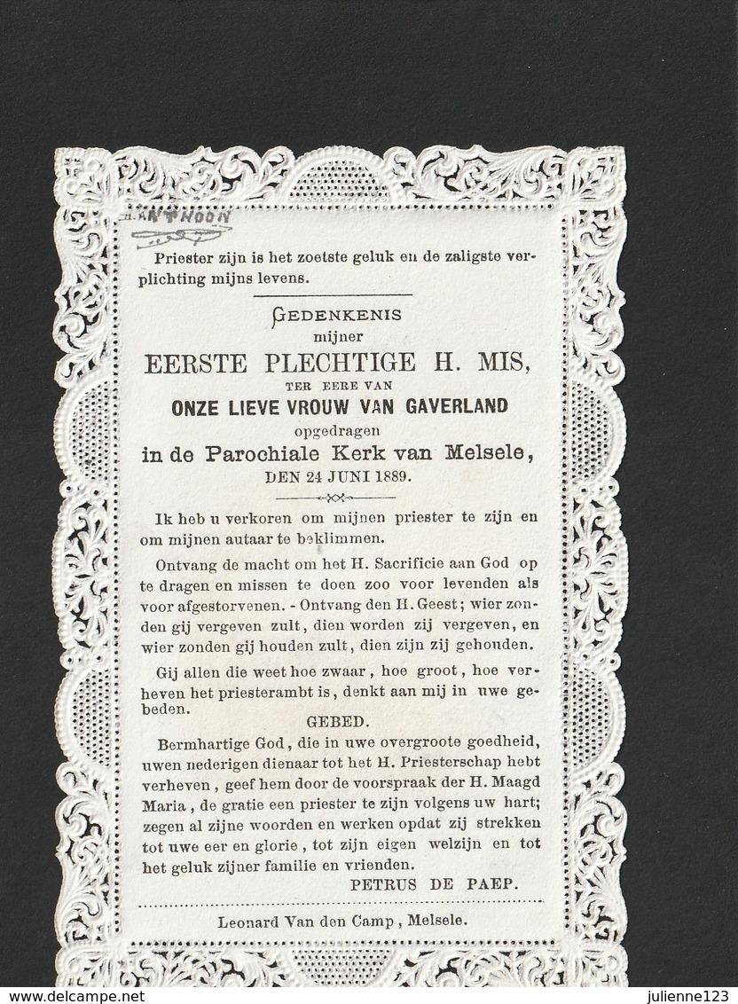 ZEER MOOI  OUD PRENTJE MET KANT .EERSTE.PLECHTIGE H.MISIN DE KERK TE MELSELE 1889 - Religion & Esotérisme