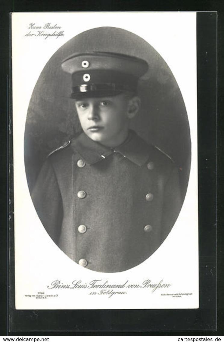 AK Portrait Prinz Louis Ferdinand Von Preussen In Feldgrau - Königshäuser