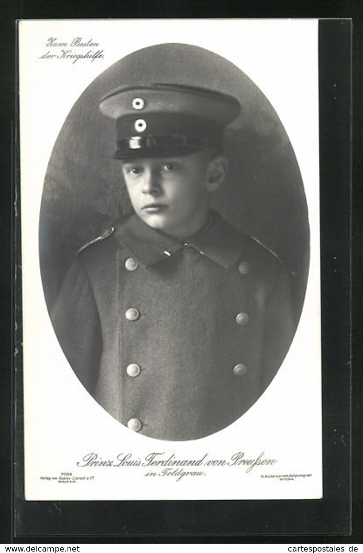 AK Portrait Prinz Louis Ferdinand Von Preussen In Feldgrau - Familles Royales
