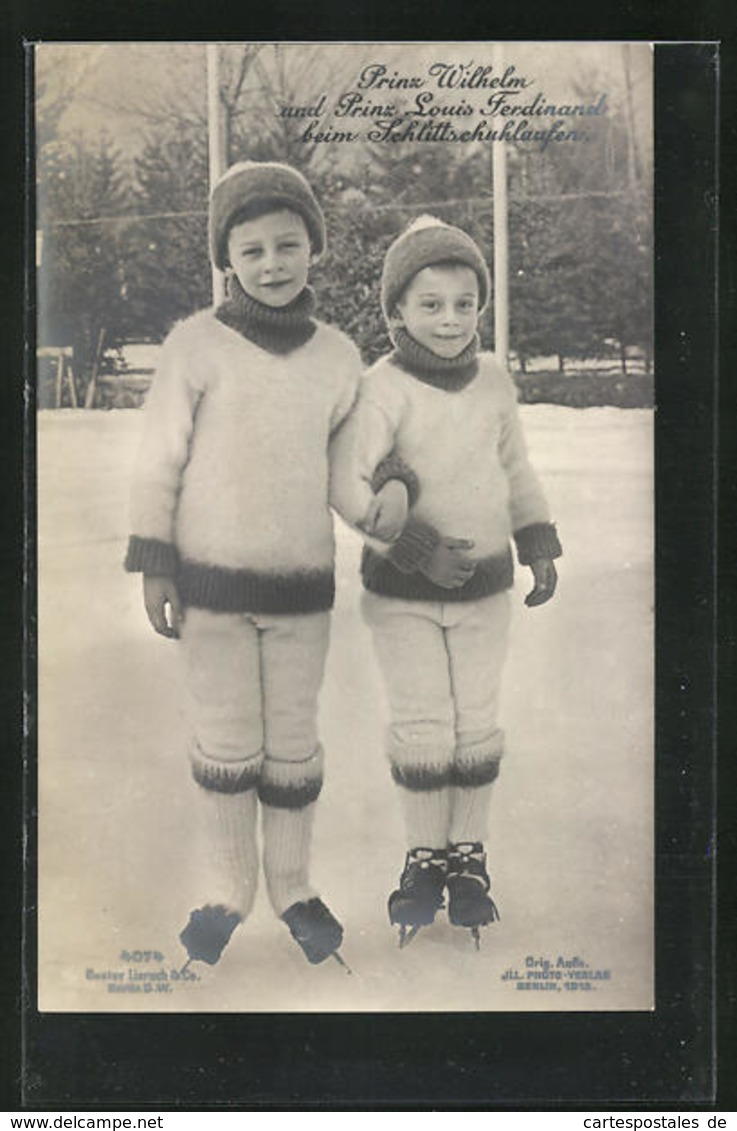 AK Prinz Wilhelm Und Prinz Louis Ferdinand Beim Schlittschuhlaufen - Familles Royales