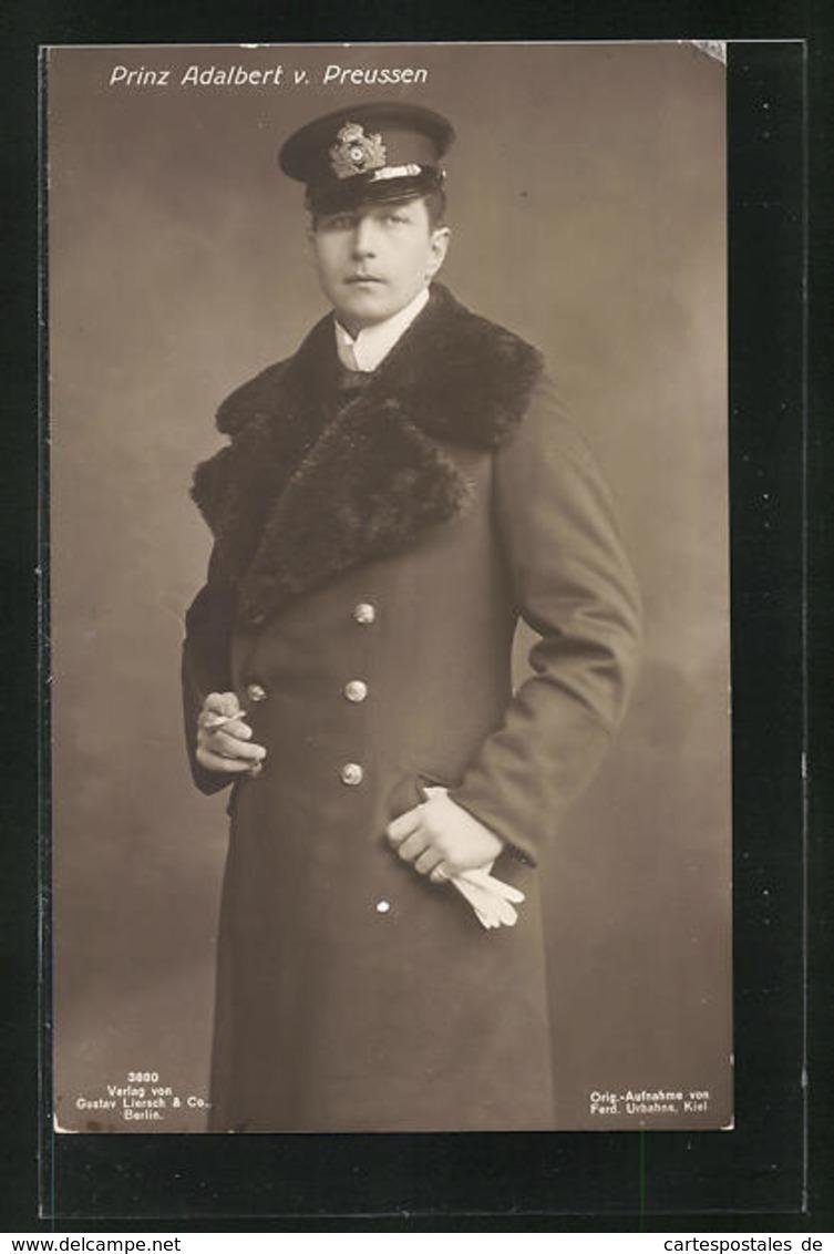 AK Portrait Prinz Adalbert Von Preussen Im Mantel Mit Schirmmütze - Familles Royales