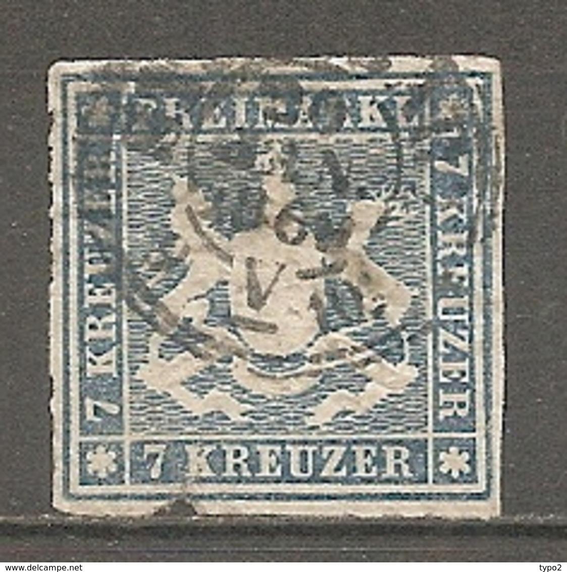 WURTEM - Yv. N° 33 MI. N° 35  Percé En Ligne  (o)  7k  Bleu  Cote 160 Euro BE R  2 Scans - Wuerttemberg