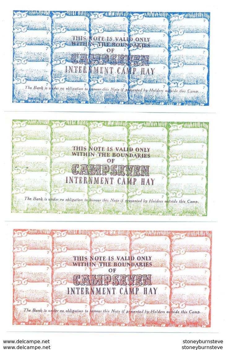 Australia Hay Internment Camp 1st March 1941 6d, 1/- & 2/- (COPY) - Australia
