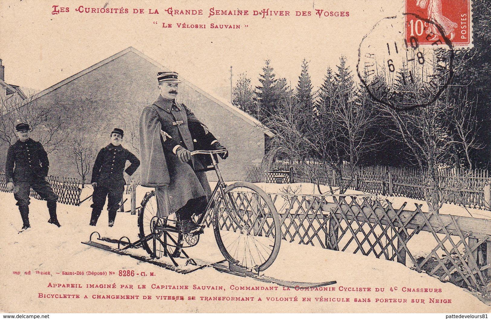 CPA (88) VOSGES Le Véloski SAUVAIN Sport Byciclette Cycling Radsport Cie Cycliste 4° Chasseurs Militaria (2 Scans) - France