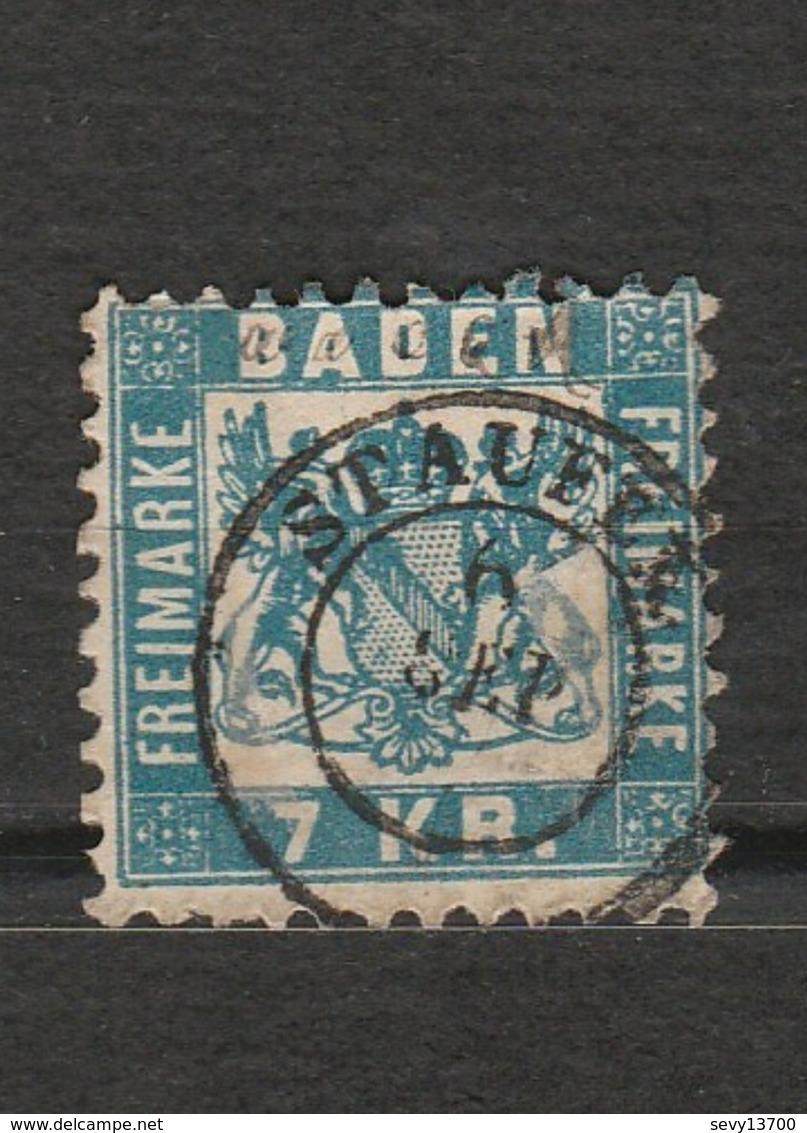 Timbre Baden Freimarke - 7 Kreuzer Bleu - Mi 25 Année 1868 - Baden