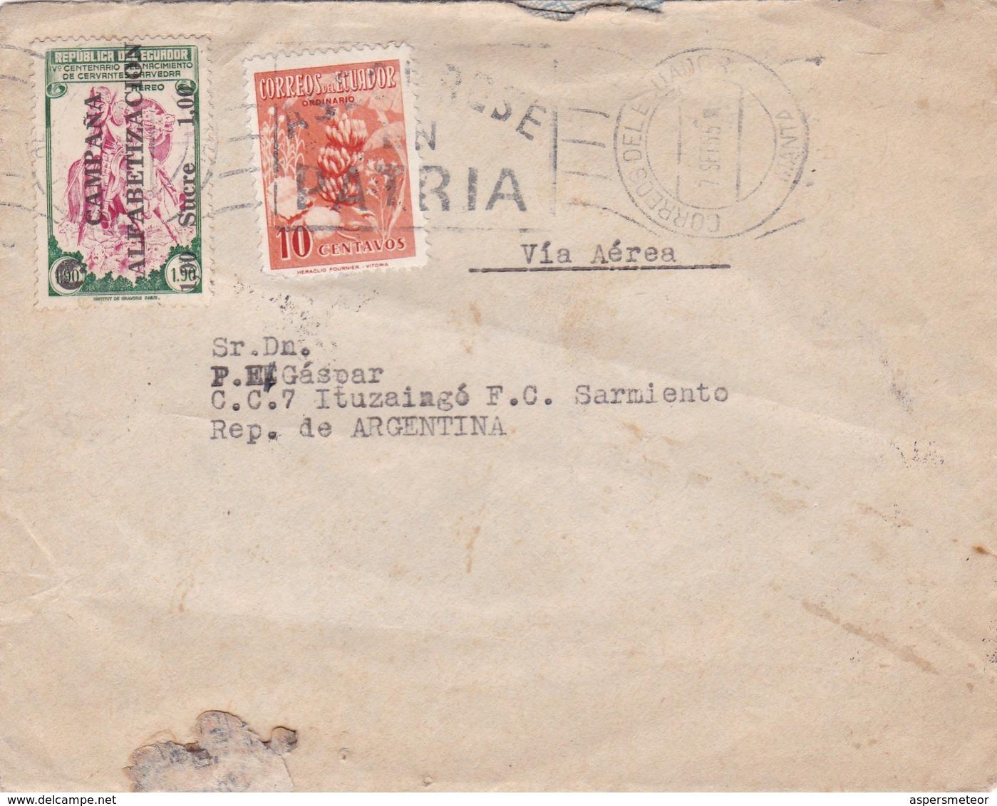 1955 COVER CIRCULEE ECUADOR VIA AEREA TO ARGENTINE. BANDELETA PARLANTE, SURCHARGE BLACK - BLEUP - Equateur