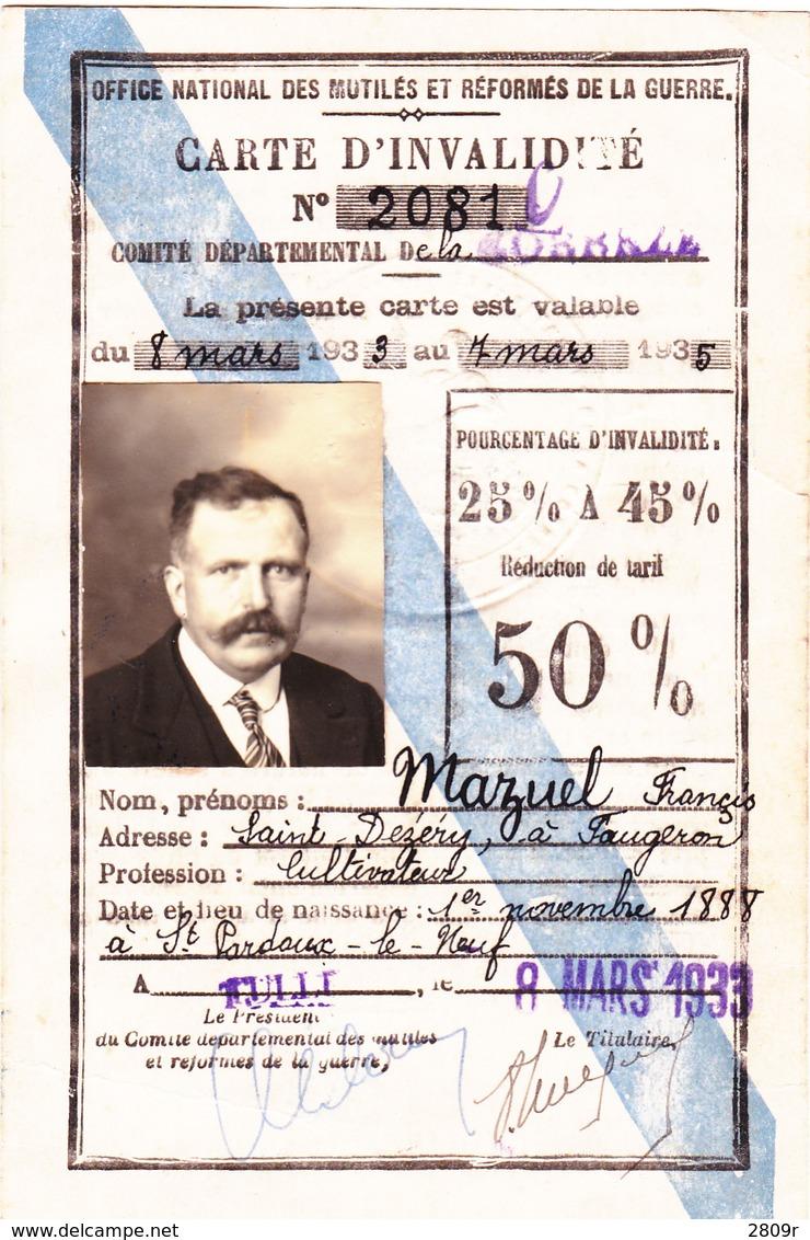 Carte D'invalidité 1933 - Non Classés