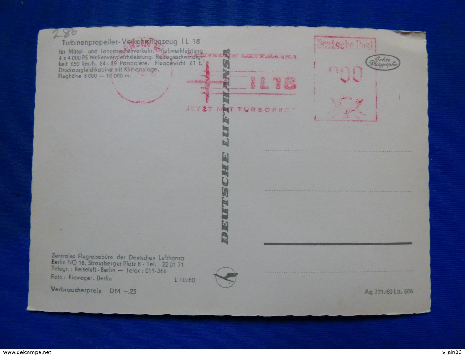 DEUTSCHE LUFTHANSA   IL 18    AIRLINE ISSUE / CARTE COMPAGNIE - 1946-....: Era Moderna