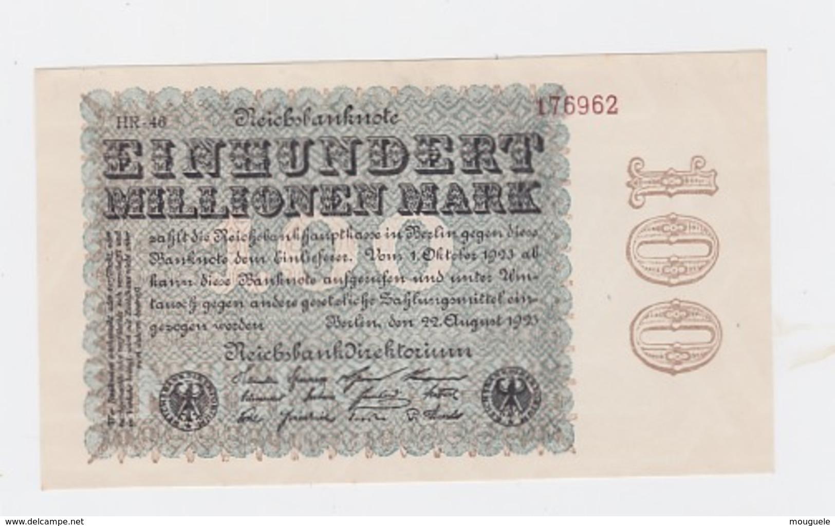 Billet De 100 Millions Mark  De  22-9-1923  Pick 107  Neuf Uniface - [ 3] 1918-1933 : République De Weimar