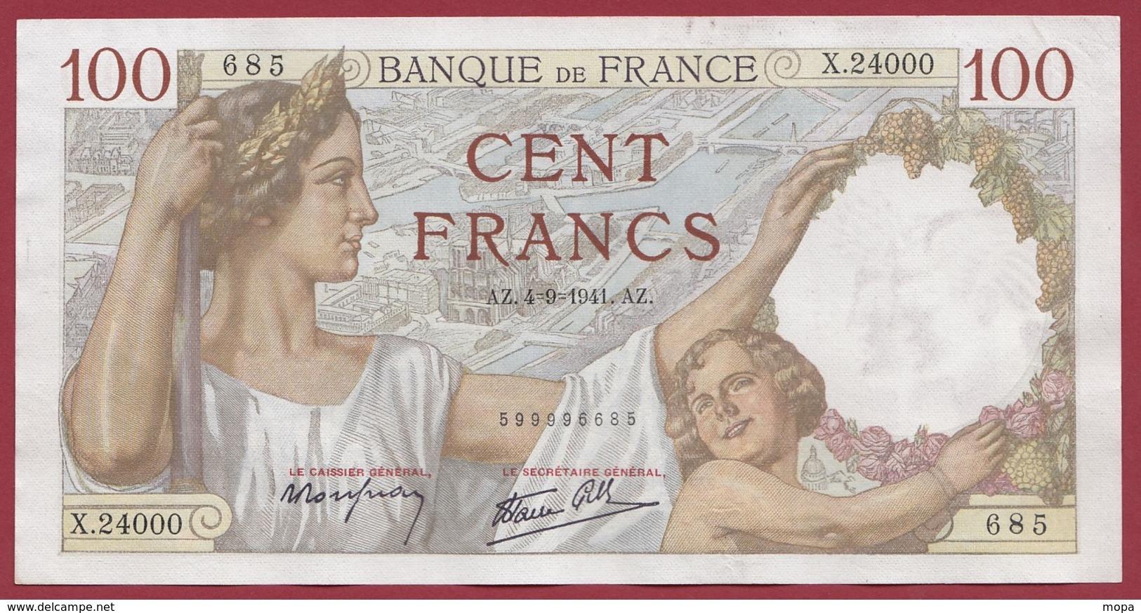 """100 Francs """"Sully"""" Du 04/09/1941.AZ --VF/SUP---ALPH X.24000 ---AUCUN TROU D EPINGLE - 1871-1952 Anciens Francs Circulés Au XXème"""