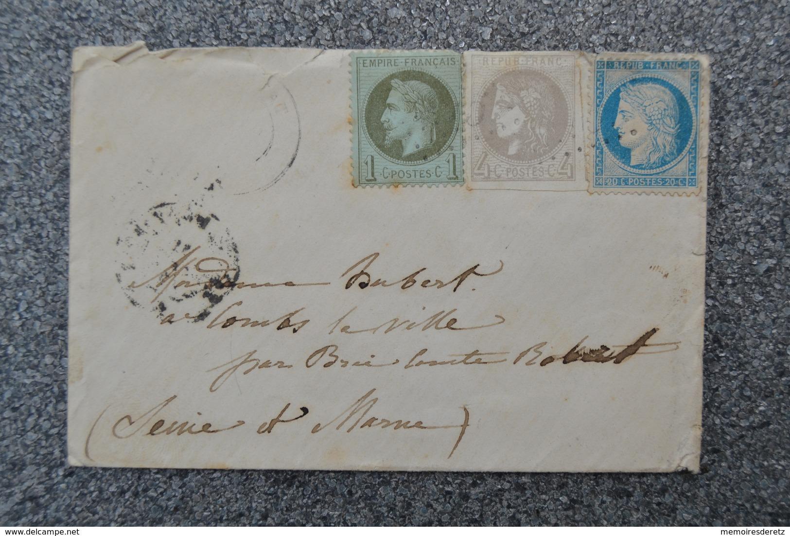 Lettre 1871 Affranchissement Cérès Bordeaux 4 C ND - Napoléon III 1 C - Cérès Paris 20 C - Ambulant Paris Montargis - 1870 Bordeaux Printing