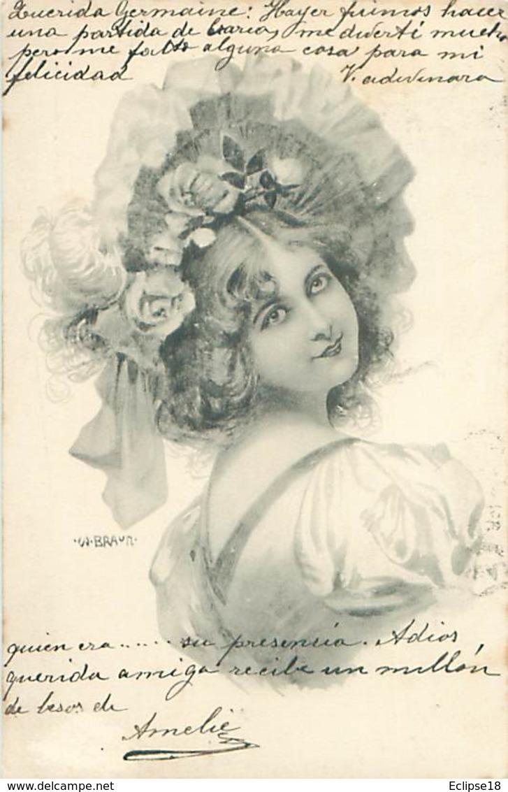 Illustrateur Style Viennoise Serie Rosée Du Mai    - Portrait Femme    AB 600 - Illustrateurs & Photographes