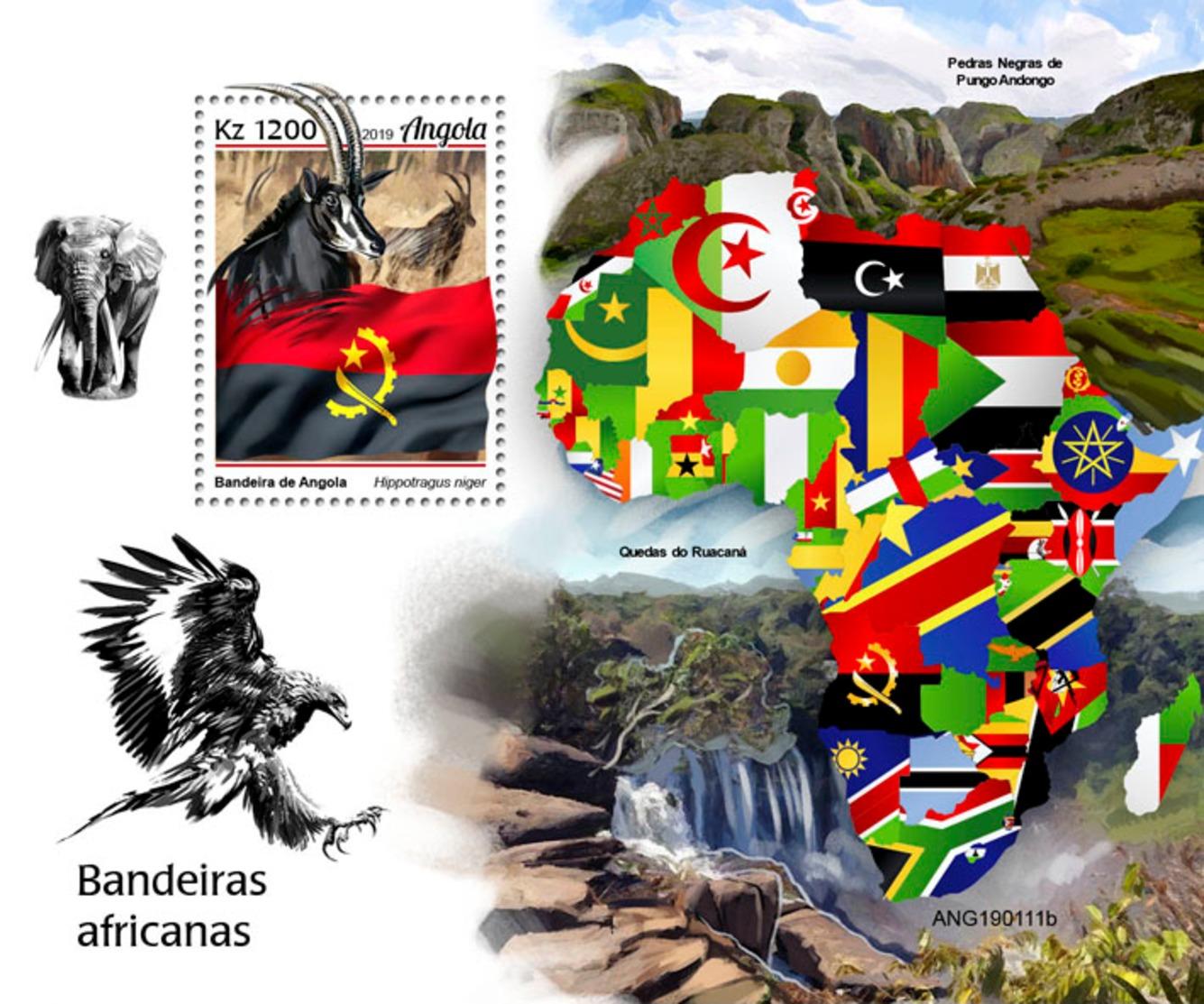 Z08 ANG190111b ANGOLA 2019 African Flags MNH ** Postfrisch - Angola
