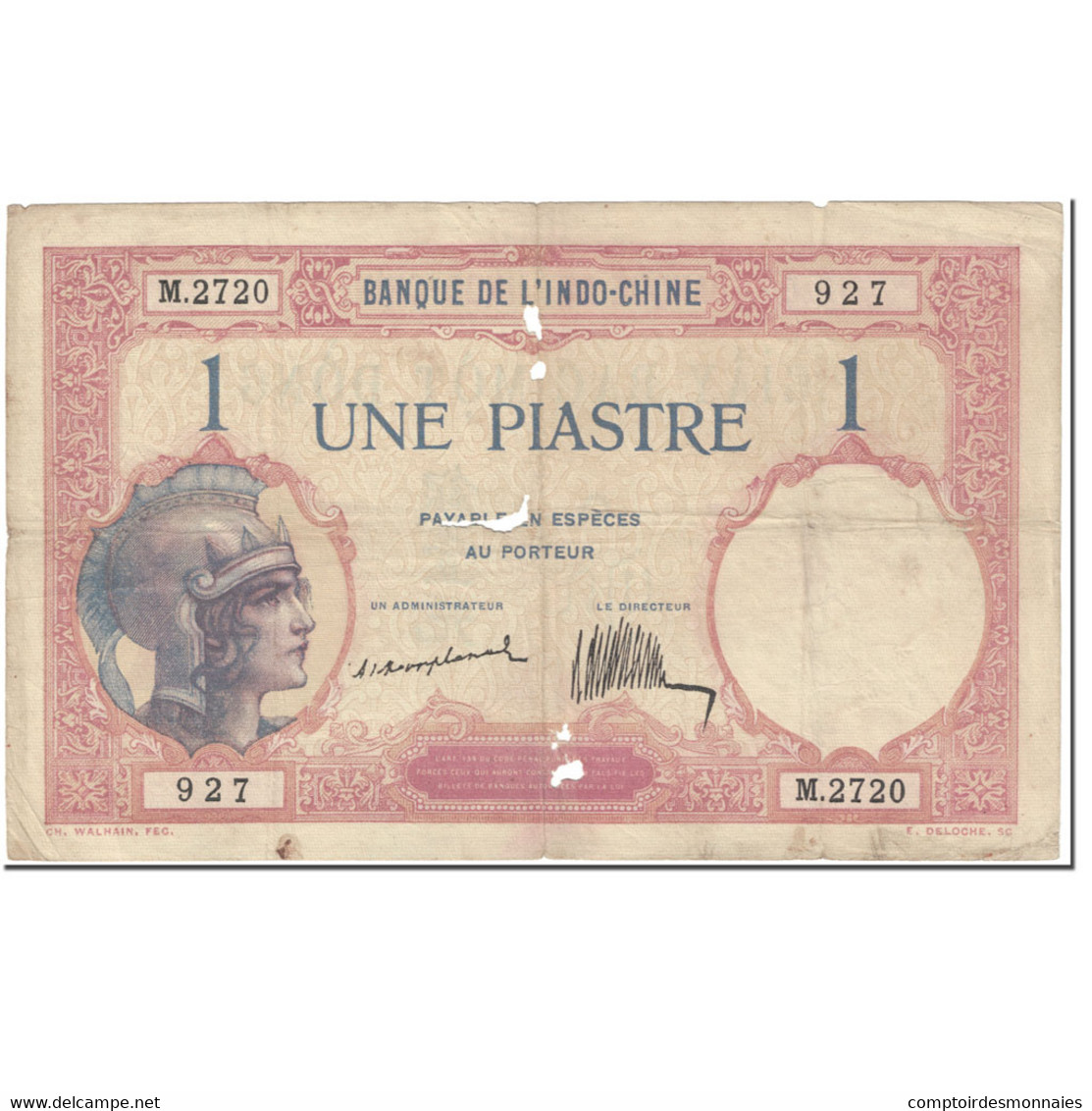 Billet, FRENCH INDO-CHINA, 1 Piastre, 1921-1926, Undated (1921-1926), KM:48a, B - Indochine