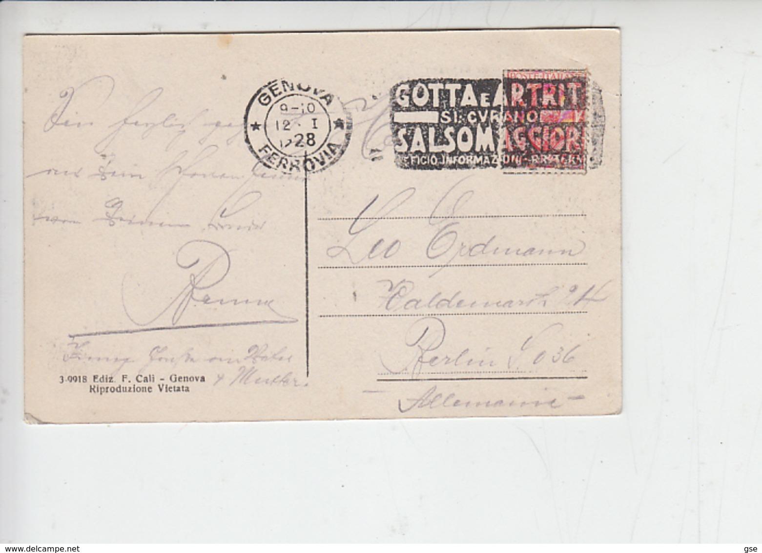 """ITALIA  1928 - Annullo Meccanico - """"GOTTA E ARTRITI"""" - Salsomaggiore - Malattie"""