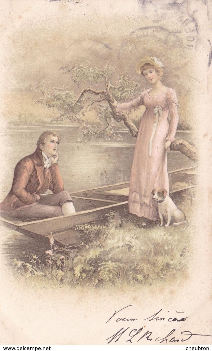 CARTE FANTAISIE. ROMANTISME. COUPLE  ET CHIEN AU BORD DE L'EAU. ANNEE 1905 - 1900-1949