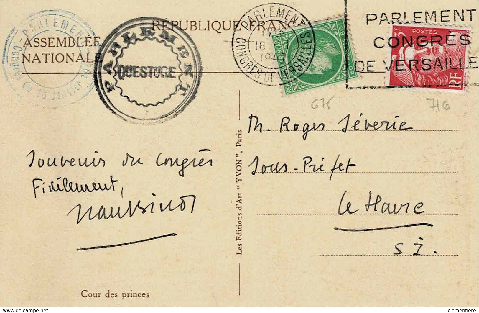 TP N ° 678 Et 716 Sur Carte Postale Du Congrès De Versailles Du 16/1/43 - 1921-1960: Modern Tijdperk