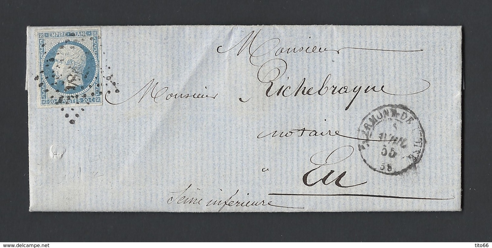 Napoléon 14 A Sur Lettre Avec Correspondance De Clermont De L' Oise Vers Eu Du 5 Avril 1855 - Postmark Collection (Covers)