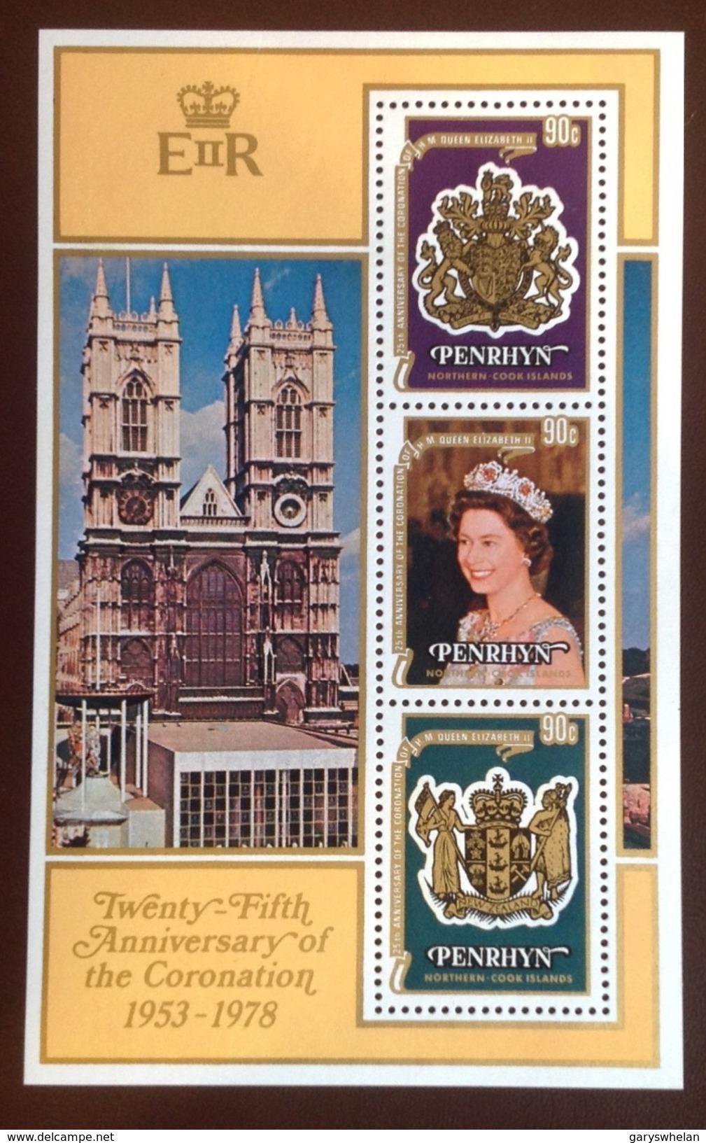 Penrhyn 1978 Queen Coronation Minisheet MNH - Penrhyn