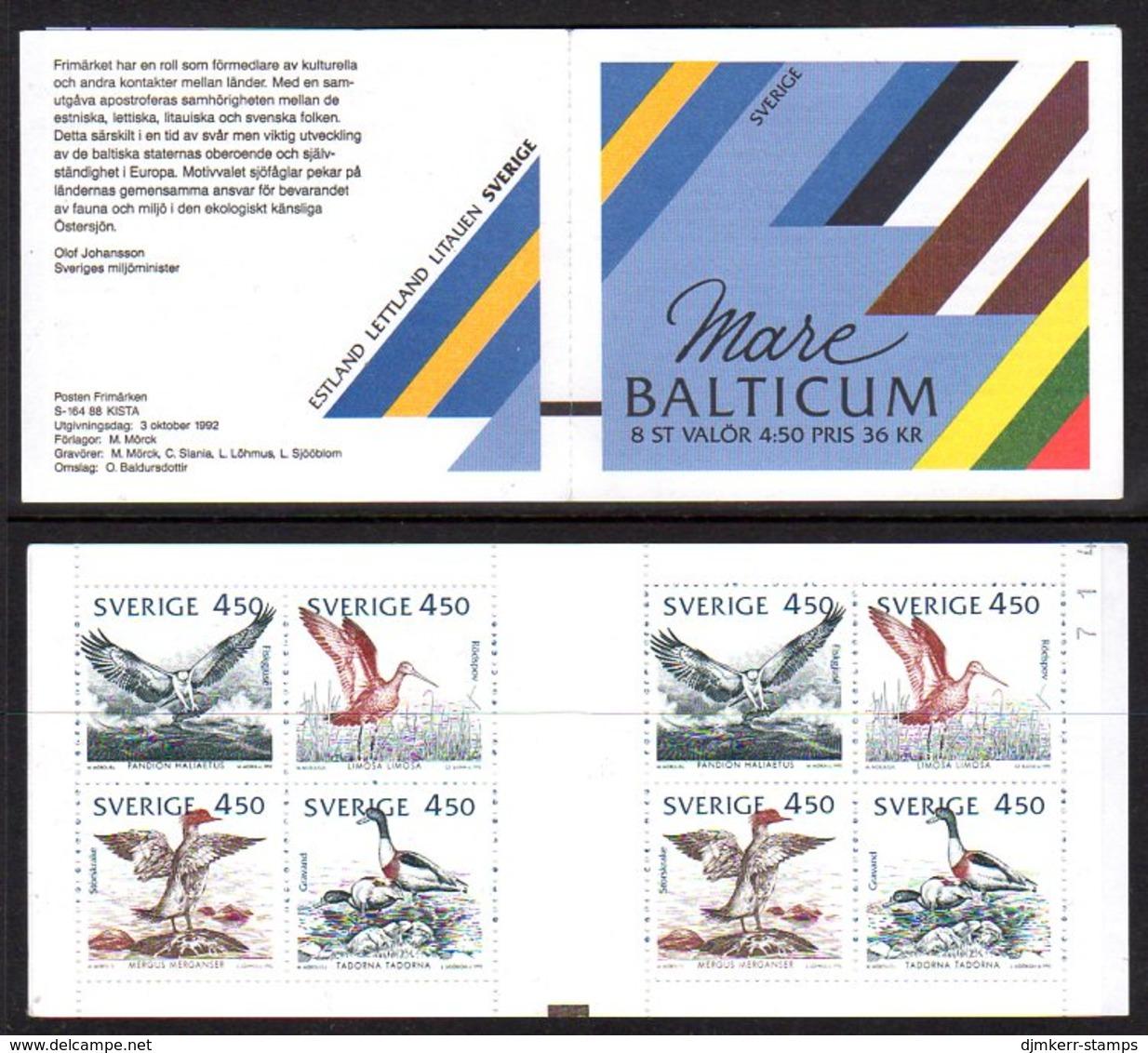 SWEDEN 1992 Birds Of The Baltic Booklet MNH / **,  Michel MH179 - Markenheftchen