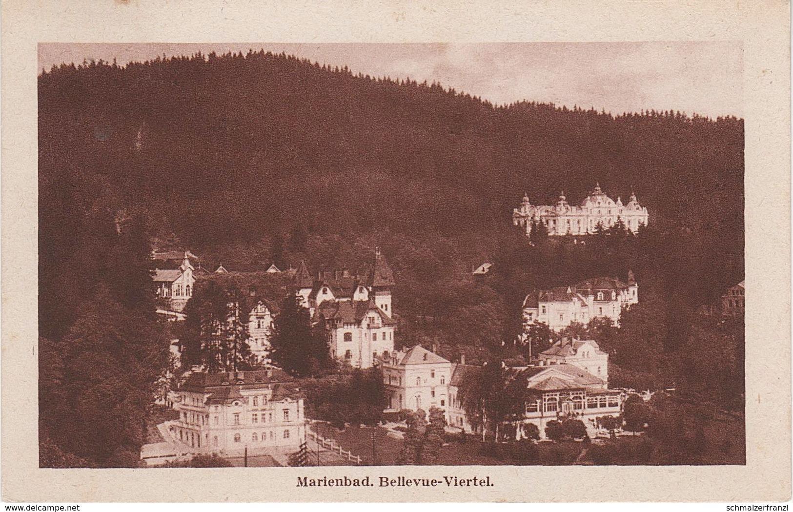 AK Marienbad Marianske Lazne Bellevue Viertel A Hammerhäuseln Glatzen Auschowitz Stanowitz Kuttnau Hohendorf Abaschin - Sudeten
