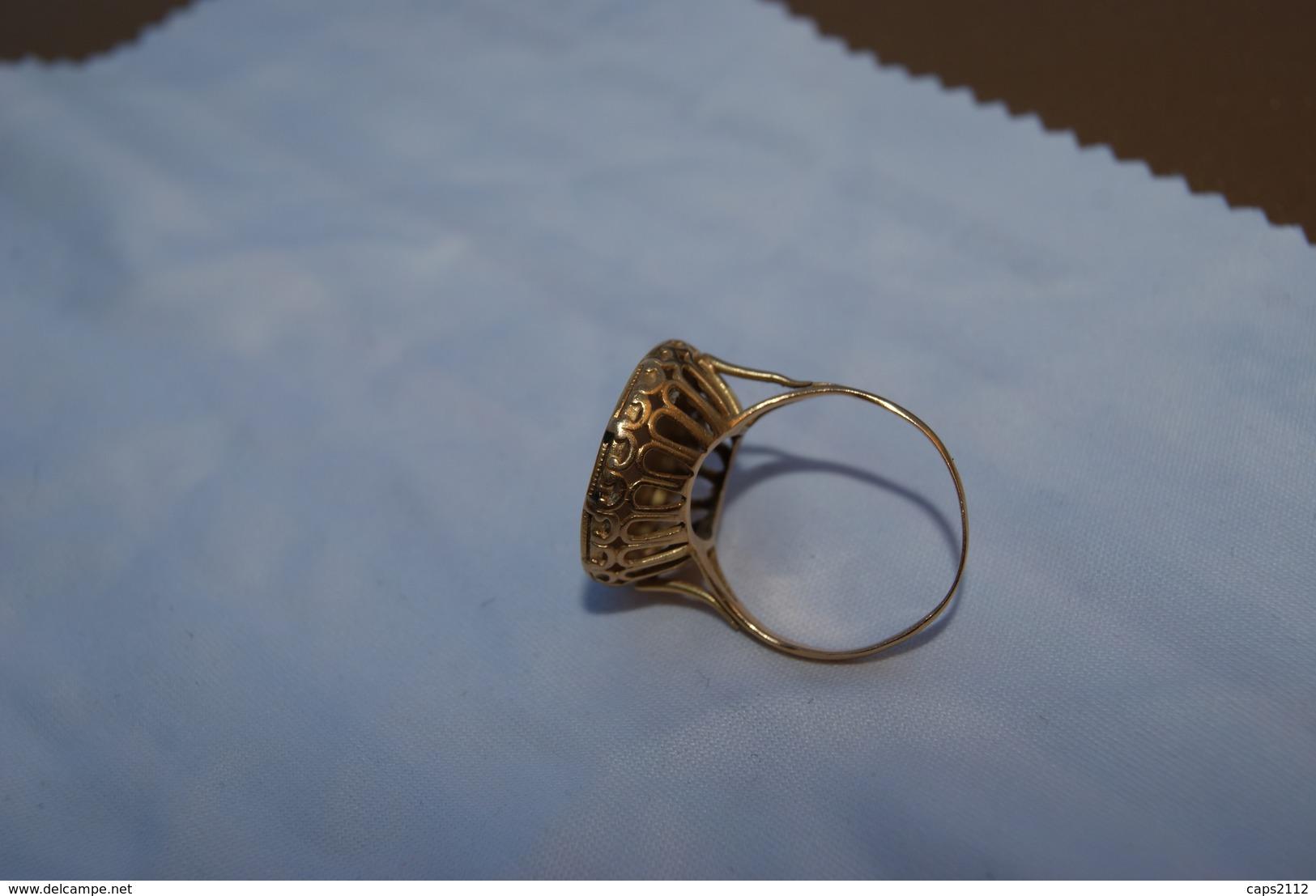 ANCIENNE BAGUE OR AVEC 10 Francs  NAPOLEON 18 Carat -bijoux - Ring