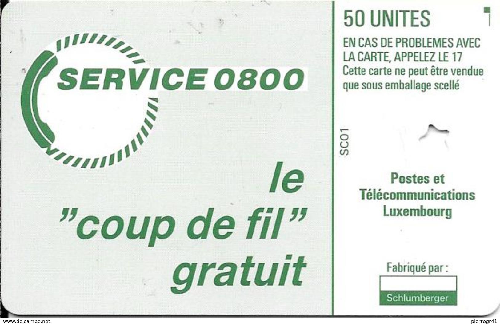 CARTE-PUCE-LUXEMBOURG-50U-Série SC01-Sans PUCE-LOGO ROUGE-GENERIQUE R° Glacé-Perforé Etoile Calage??-TBE - Luxembourg