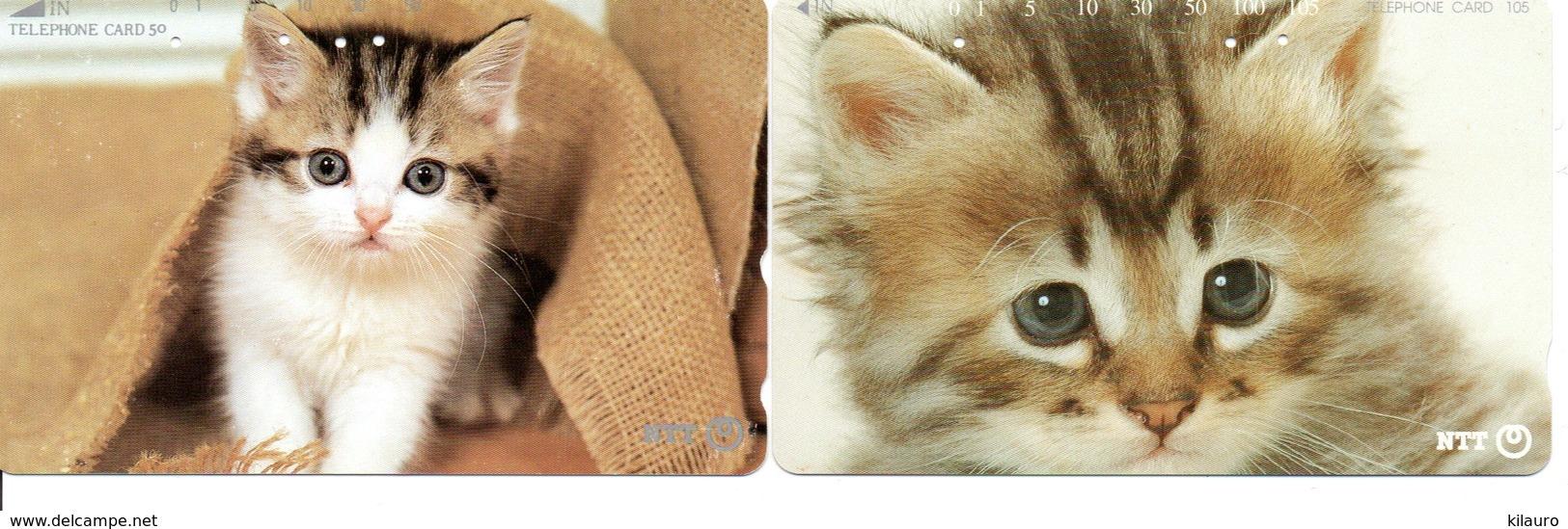 2 Télécartes Japon Japan Chat Cat  Katze Phonecard (D 652) - Gatos