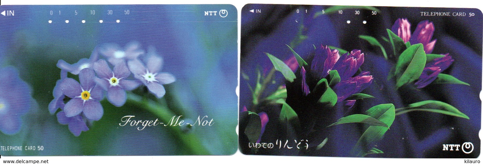 2 Télécartes Japon Japan  Fleur Flower  Phonecard (D 672) - Fleurs
