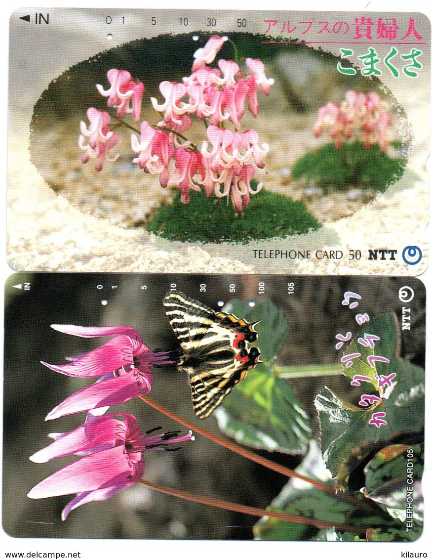 2 Télécartes Japon Japan  Fleur Flower  Phonecard (D 684) - Fleurs