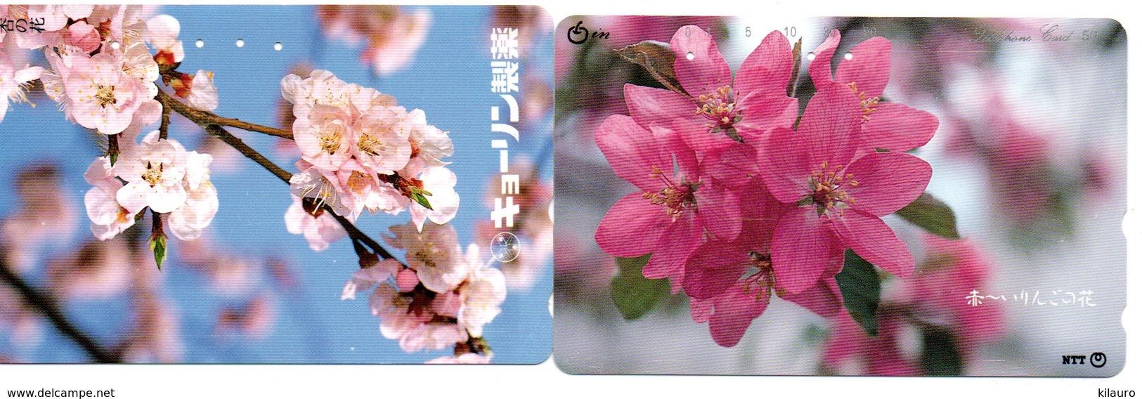 2 Télécartes Japon Japan  Fleur Flower  Phonecard (D 685) - Fleurs