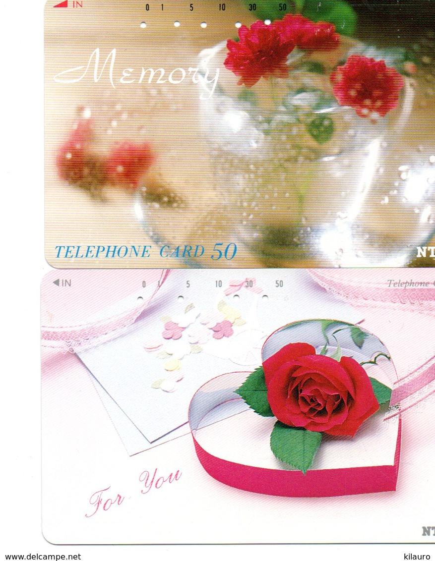 2 Télécartes Japon Japan  Fleur Flower Rose Phonecard (D 687) - Fleurs