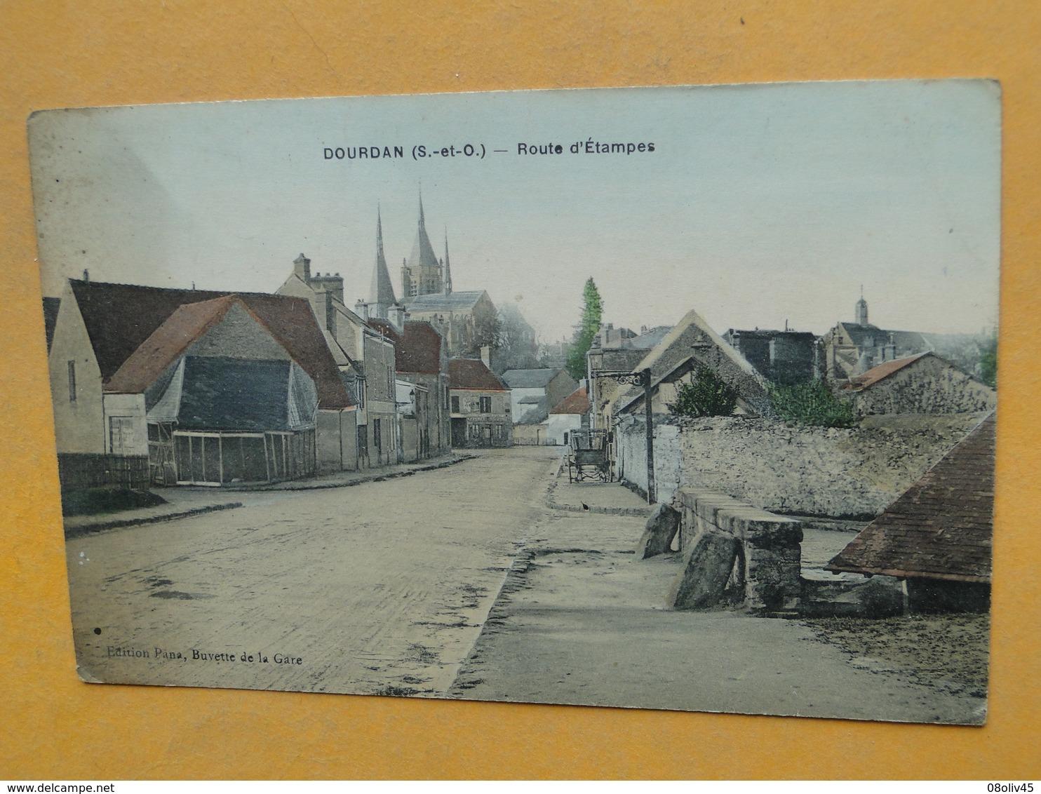 DOURDAN  -- Route D'Etampes - Lavoir à Droite - Carte Colorisée - Vue PEU COURANTE !! - Dourdan