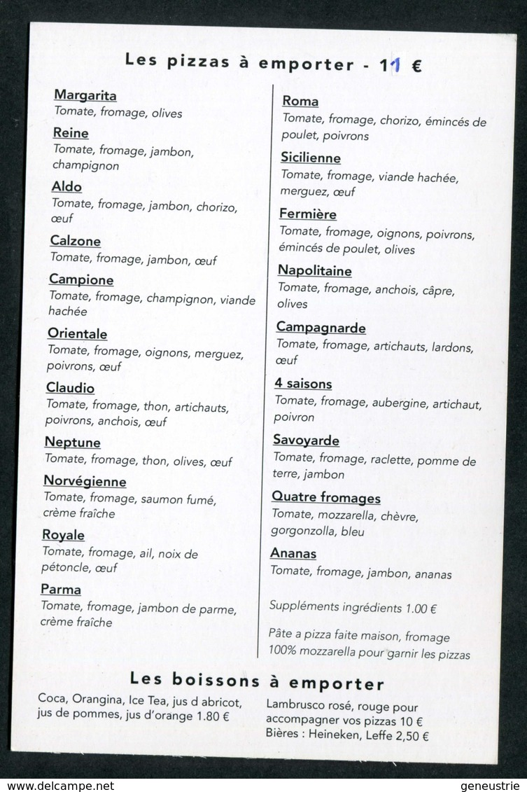 "Menu Format Carte Postale ""Restaurant - Pizzeria - Chez Claudio - Houilles"" Yvelines - Menus"