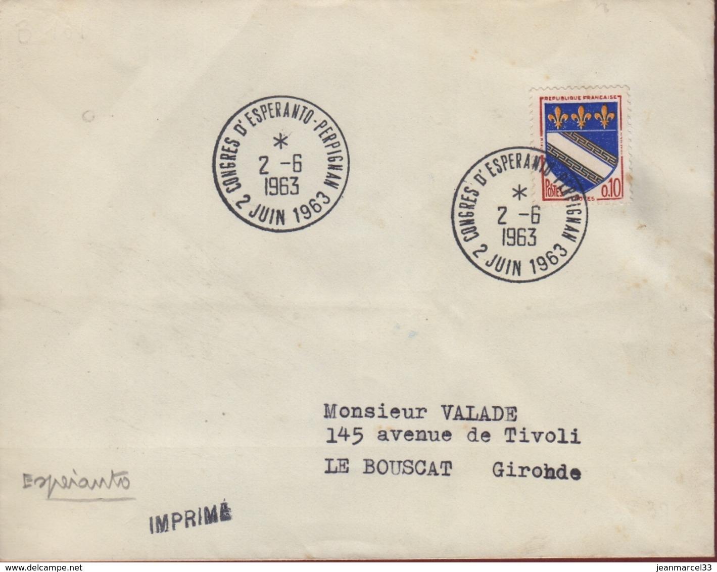"""Espéranto Cachet Temporaire 2 Juin 1963 Congrès D'Espéranto-Perpignan"""" - Esperanto"""