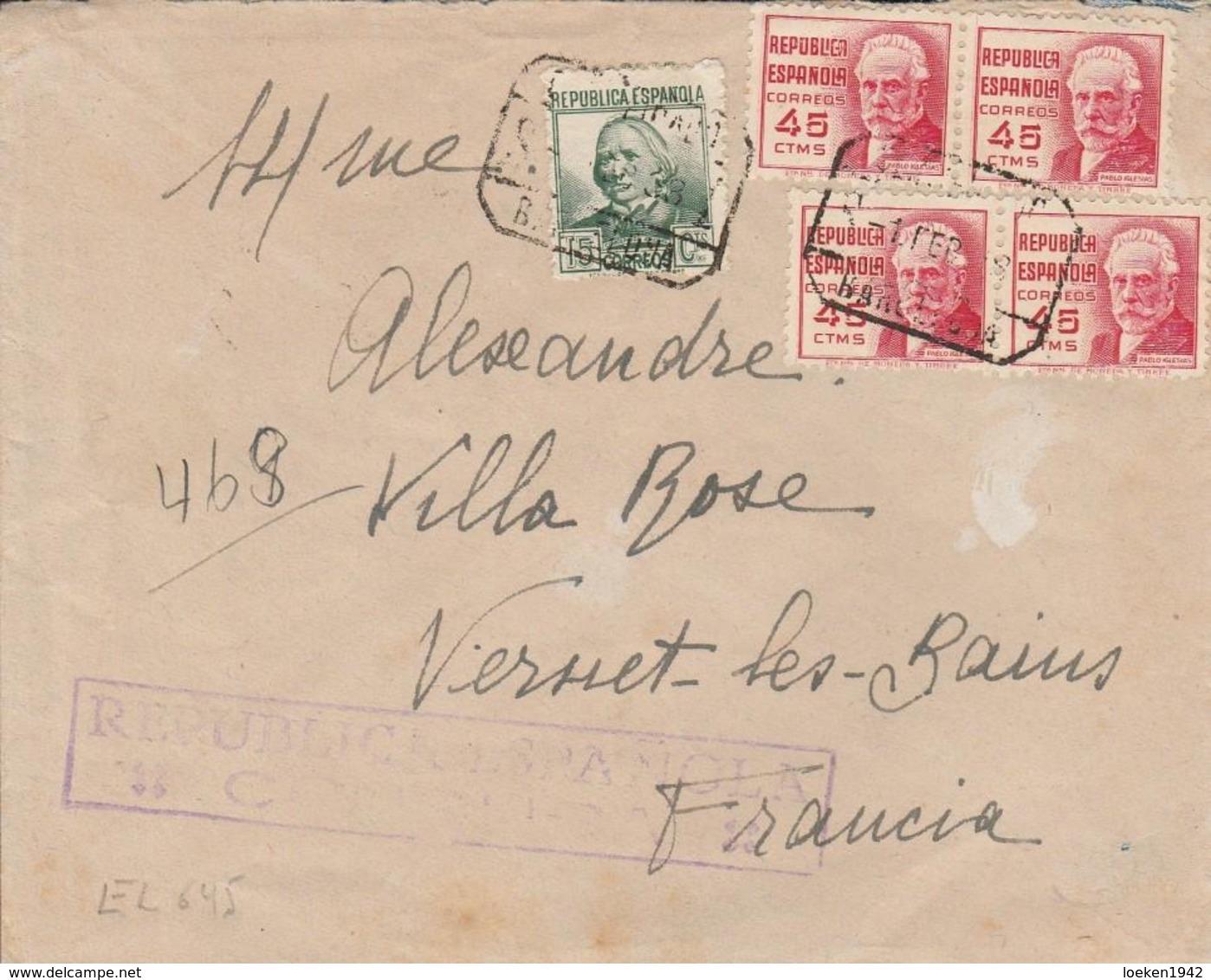 1938 LR De BARCELONA  à VERNET LES BAINS   Dates à Voir  EL645 - 1931-Hoy: 2ª República - ... Juan Carlos I