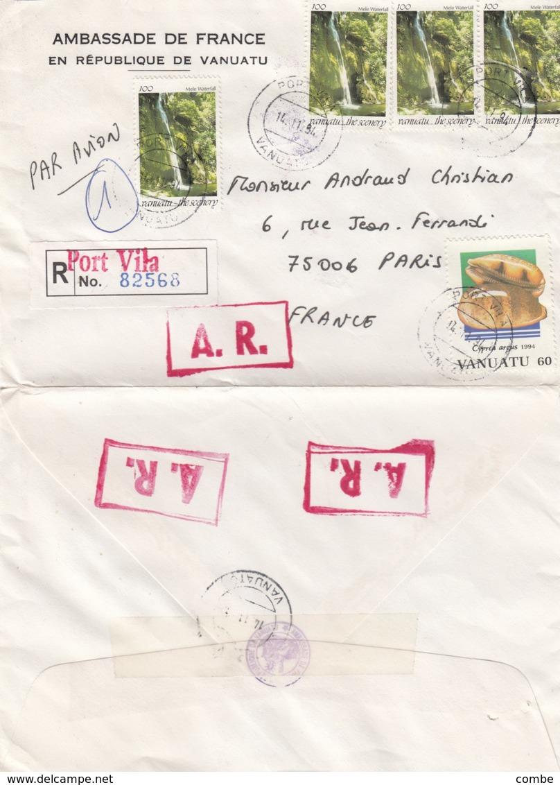 LETTRE VANUATU RECOMMADE AMBASSADE DE FRANCE PORT VILA POUR LA FRANCE - Vanuatu (1980-...)
