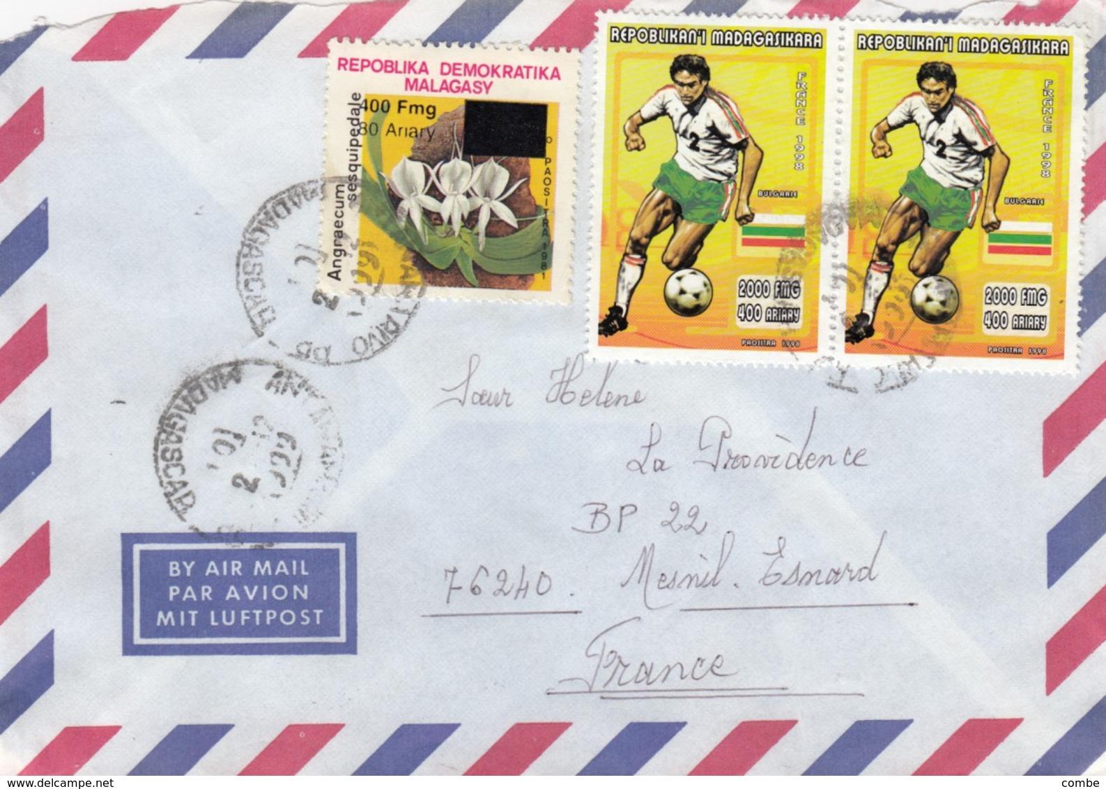 LETTRE MADAGASCAR POUR LA FRANCE AVEC TIMBRE SURCHARGE - Madagascar (1960-...)