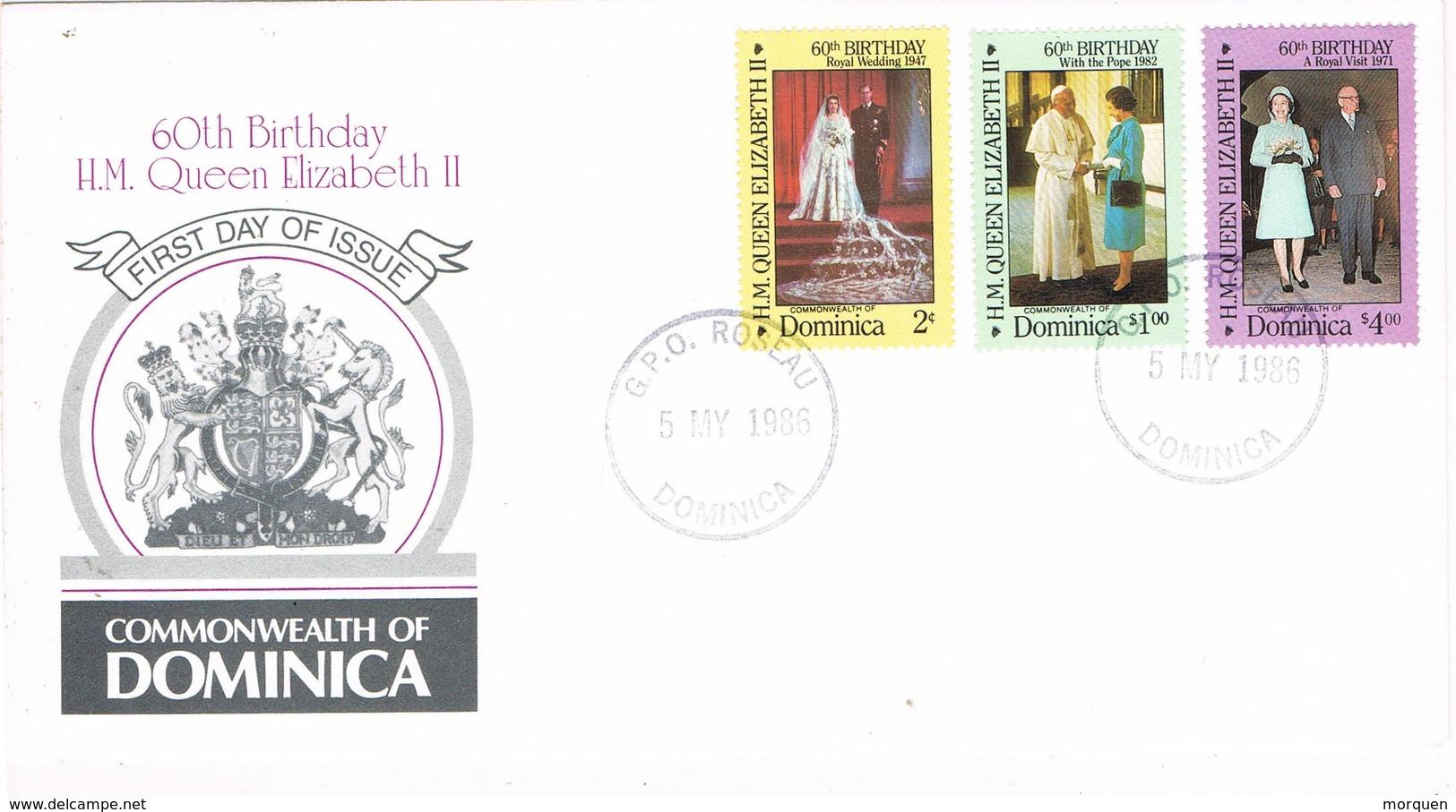 33182. Carta F.D.C. ROSEAU (Dominica) 1986. 60 Anniversary Queen Elisabeth II - Dominica (1978-...)