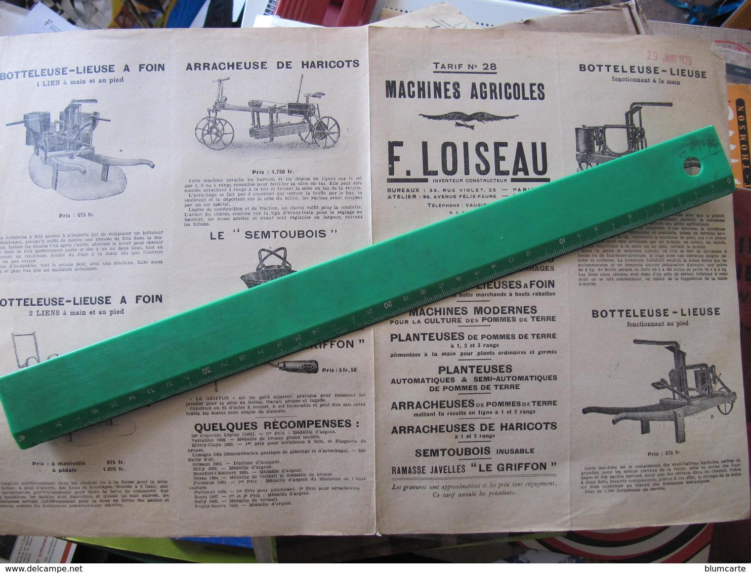 Feuille Pub Double - LOISEAU - BOTTELEUSE LIEUSE - Agriculture