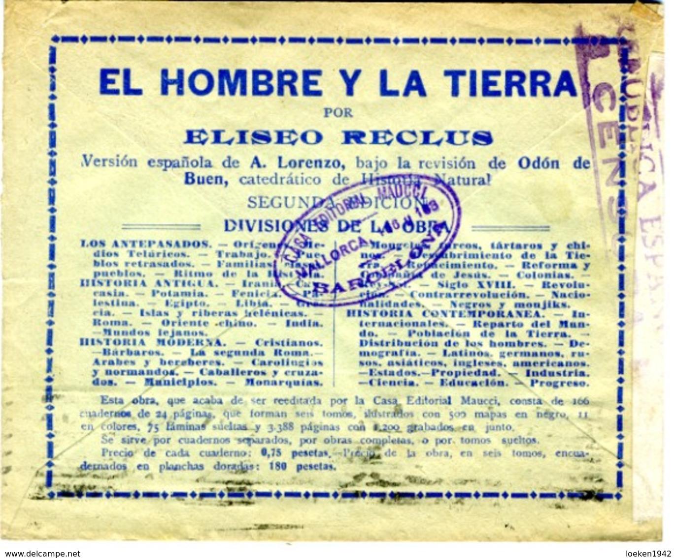 1937 Lettre De Barcelone EDTORIAL MAUCCI  Publicité Au Dos. Vers PARIS    EL620 - 1931-Today: 2nd Rep - ... Juan Carlos I