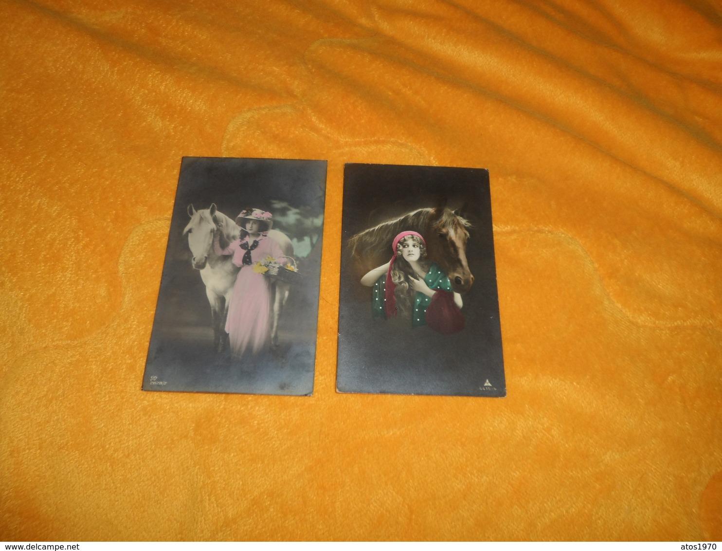 LOT DE 2 CARTES POSTALES ANCIENNES CIRCULEES DE 1917 ET 1918...SCENE FEMME CHEVAL..ENVOYEE DU PAYS BAS NEDERLAND..CACHET - Frauen